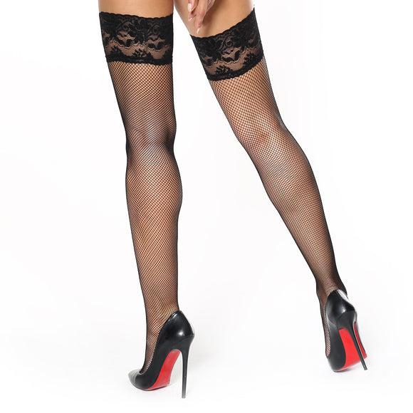 S605 MissO Lace Top Fishnet Hold-Ups Black
