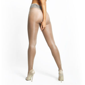 P105 MissO 20D Gloss Open-Gusset Pantyhose with Lace Belt Gray