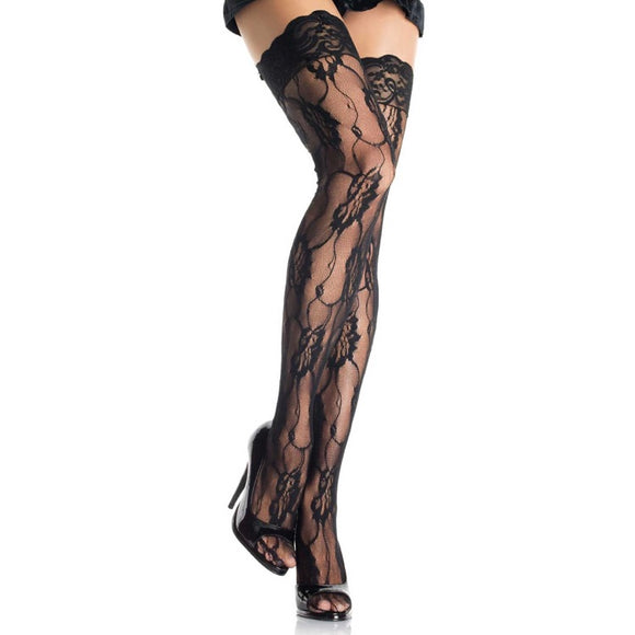LA9215 Leg Avenue Black Rose Lace Thigh High Stockings