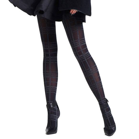 JA408 Jonathan Aston Black-Grey Tartan Tights
