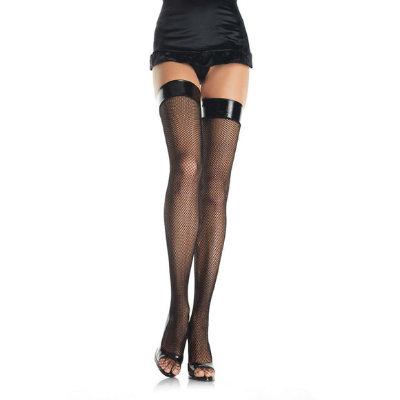 LA90 Leg Avenue Vinyl Top Fishnet Stockings