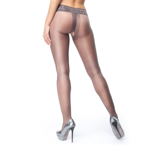 P105 MissO 20D Gloss Open-Gusset Pantyhose with Lace Belt Dark Gray