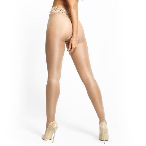 P105 MissO 20D Gloss Open-Gusset Pantyhose with Lace Belt Beige