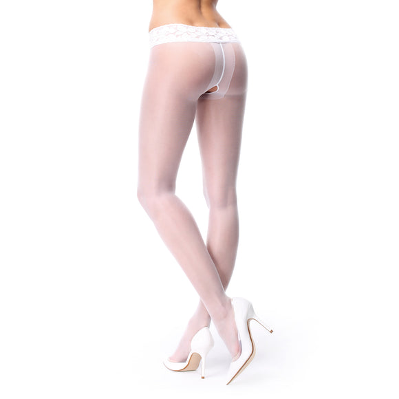 P105 MissO 20D Open-Gusset Gloss Pantyhose with Lace Belt White
