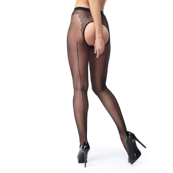 P211 MissO Seamed Shiny Open-Gusset Pantyhose Black