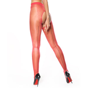 P211 MissO Seamed Shiny Open-Gusset Pantyhose Red-Black