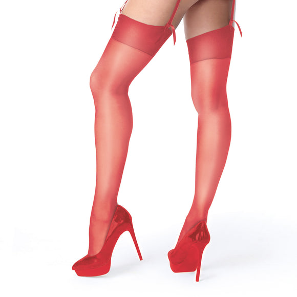 S101 Miss O Raspberry Red Shiny Suspender Stockings
