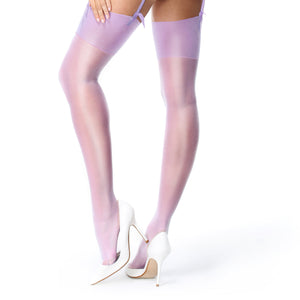 S101 MissO Shiny Suspender Stockings Violet