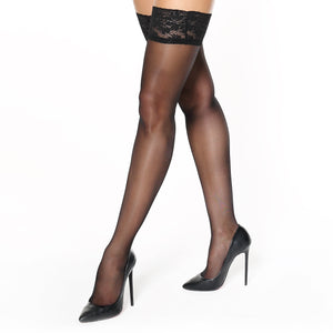 S305 MissO Silky Lace Top Hold-Ups Black 15D