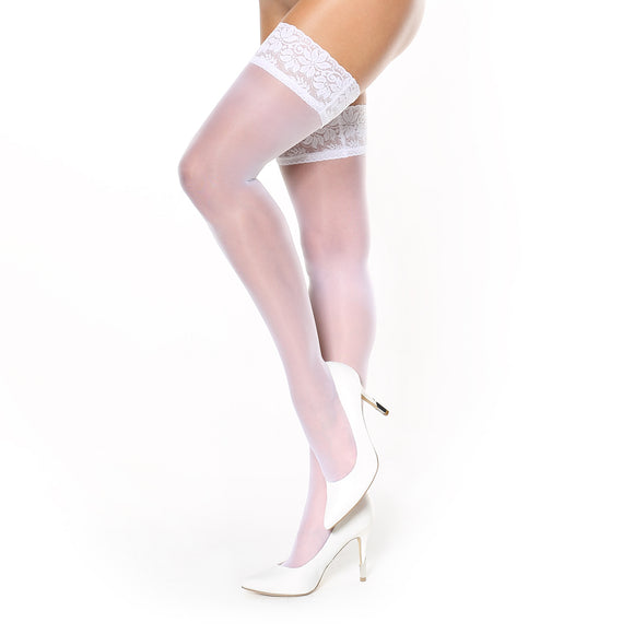S305 Miss O White Silky Lace Top Hold-Ups