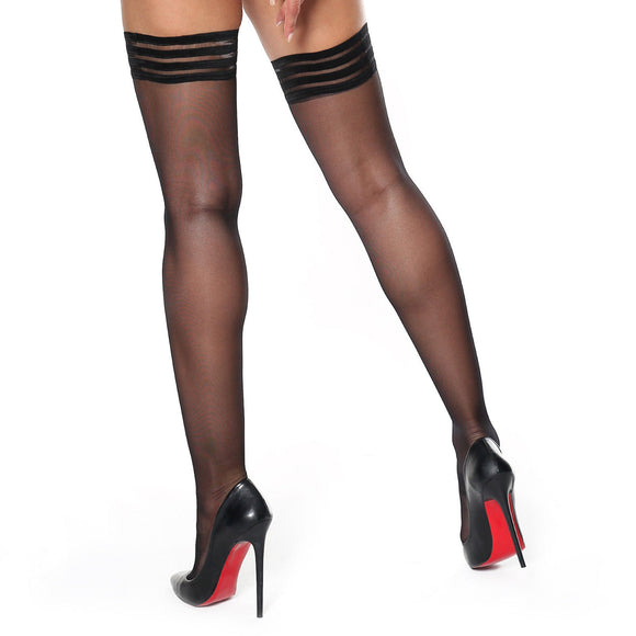 S306 MissO Shiny Decorative Top Hold-Ups 15D Black