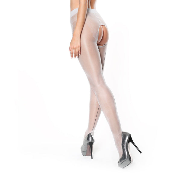 P211 Miss O Seam Gloss Pantyhose. Silver-Black