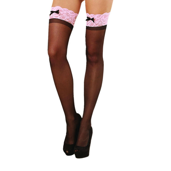 D0026 Dreamgirl Sheer Lace Top Hold-Ups Black-Pink