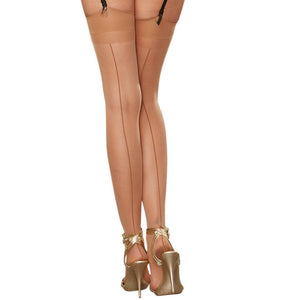 0007 Dreamgirl Sheer Nude-Shade Thigh High Stockings with Back Seam
