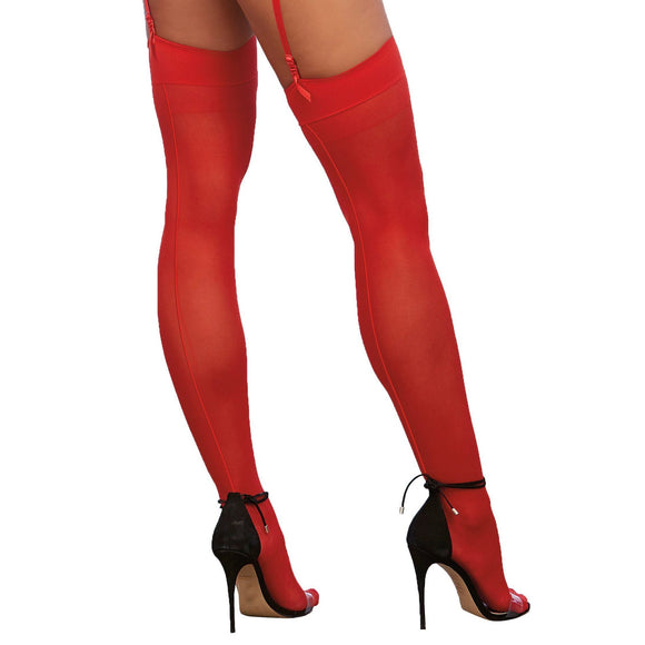 0007 Dreamgirl Sheer Red Thigh High Stockings with Back Seam
