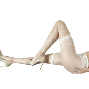 TRAS021 Trasparenze Crocus Ivory Fishnet Tights