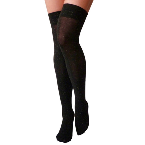 OKS166 Trasparenze Deejey Black-Gold Lurex Over-Knee Socks
