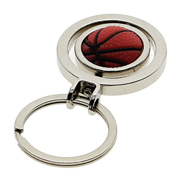 Stylish Silver 3D Basketball Keyring Keychain Charm Metal Key Ring