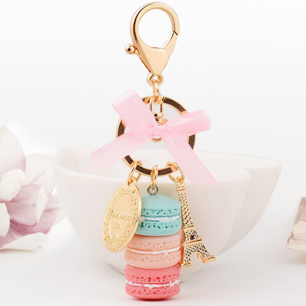 Macaron Cake Eiffel Tower Keychain Bowknot Car Keyring Bag Purse Pendant