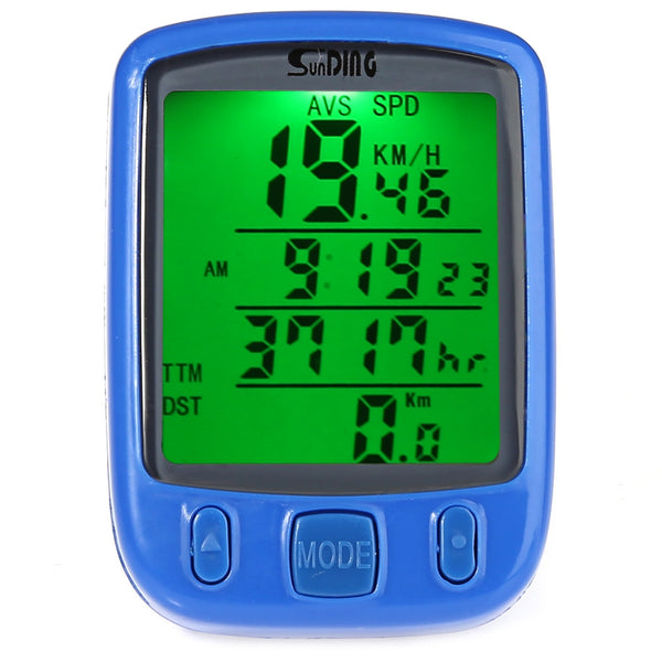 SunDing SD - 563B Outdoor Multifunction Water Resistant Cycling Odometer Speedometer LCD Green Backlight