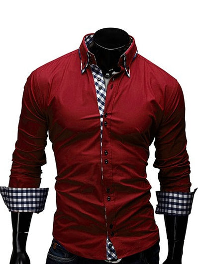 Checked Splicing Design Casual Button Down Shirt