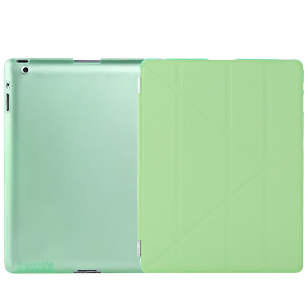 Ultra Slim Removable PU Leather PC Back Cover Smart Sleep Multi-folding Stand for iPad 2 / 3 / 4