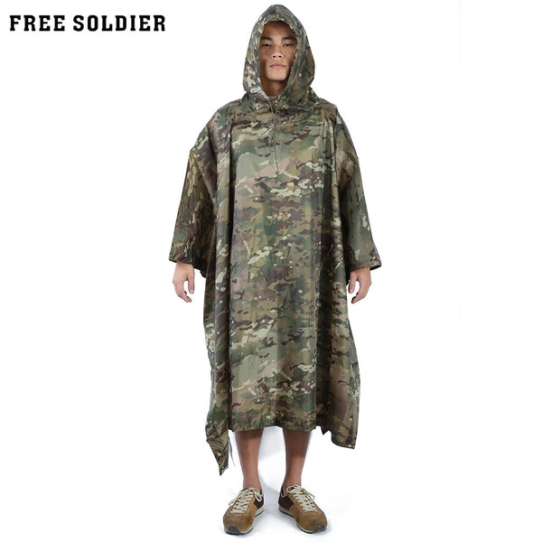 Free Solider Outdoor Multifunctional Camping Camouflage Packable Poncho Mat Raincoat