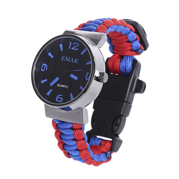 EMAK Multifunctional Survival Paracord Bracelet Watch with Compass Flint Fire Starter Scraper Whistle Gear