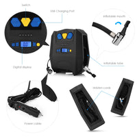 YY - 3602 Portable Car Air Pump with USB Charging Port