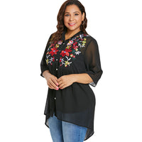 Plus Size Button Up Embroidery Blouse