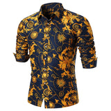 Vintage Flower Chain Print Long Sleeve Shirt