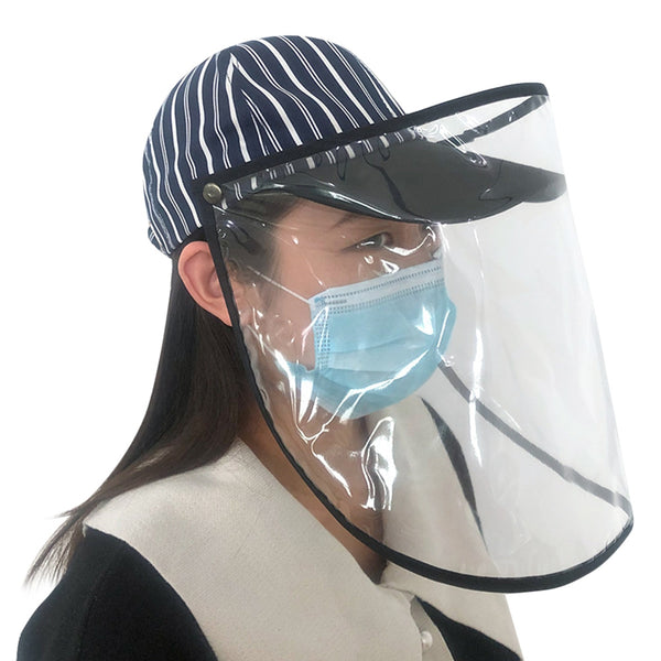 Anti-saliva Transparent Protective Cap Anti-fog Stripe Hat Isolation Face Cover Removable Mask