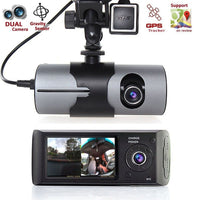 "2.7"" Dual Lens Camera Car DVR R300 with GPS 2 CMOS 3D G-Sensor LCD X3000 Dash Cam Video Camcorder Cycle Recording Digital Zoom"