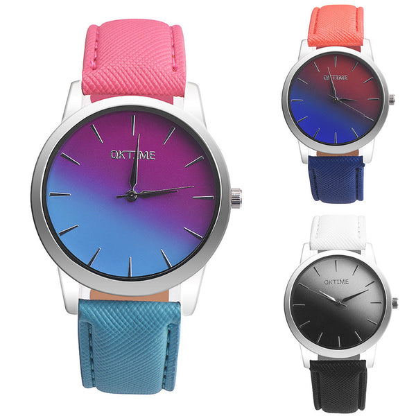 Retro Rainbow Design Leather Band Analog Alloy Quartz Wrist Watch Pretty Girl Wedding