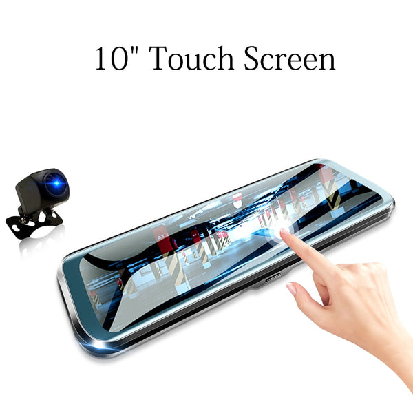 HGDO 10 inch Car DVR  Rearview Mirror Dash cam Full HD Touch screen car camera 1080P dvrs Dual lens video Recorder autoregister