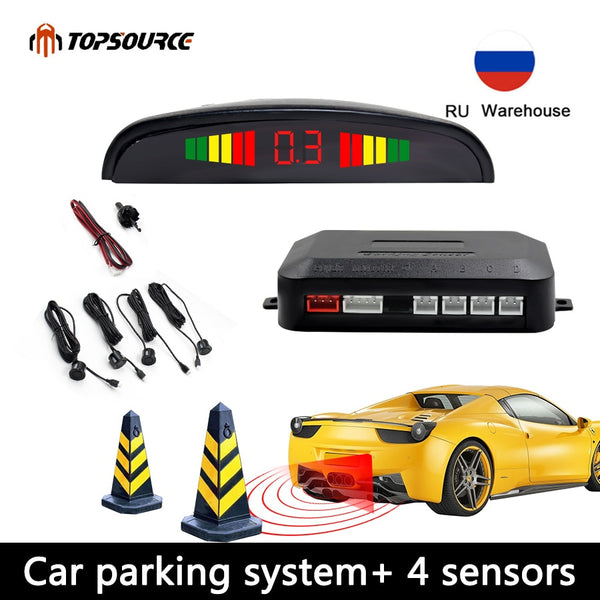 Car Parking Sensor Parktronic Display 4 Sensors Reverse Backup Assistance Radar Detector  Auto Led Light Heart Monitor System