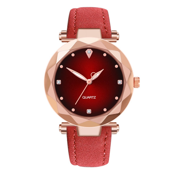 High End Luxury Women Watches Creative Leisure Rhinestone Leather Strap Watch Fashion Female Quartz Wristwatch Clock kol saat #W