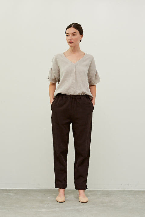 Grade & Gather - Double Gauze Pants Black Coffee