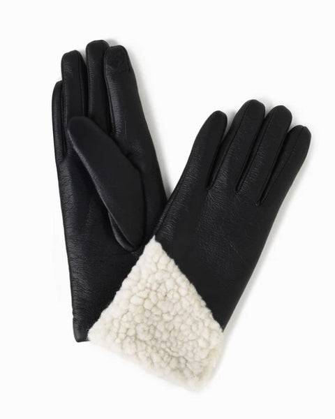 Look By M - Asymmetrical Shearling Leather Gloves