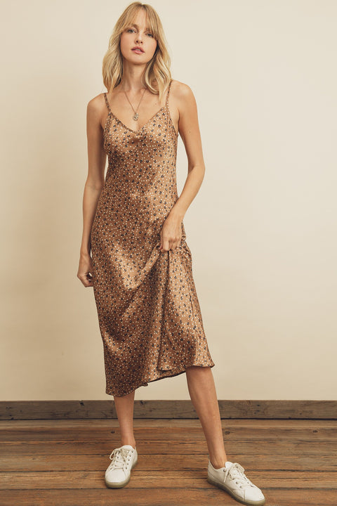 Dress Forum - Leopard Dot Midi Slip Dress