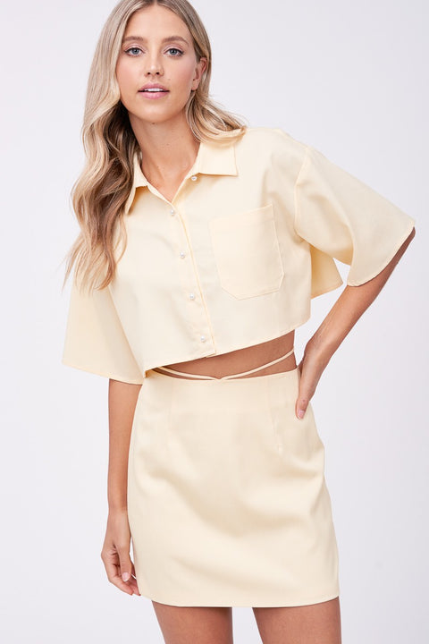 Emory Park - Mustard Pearl Button Cropped Shirt