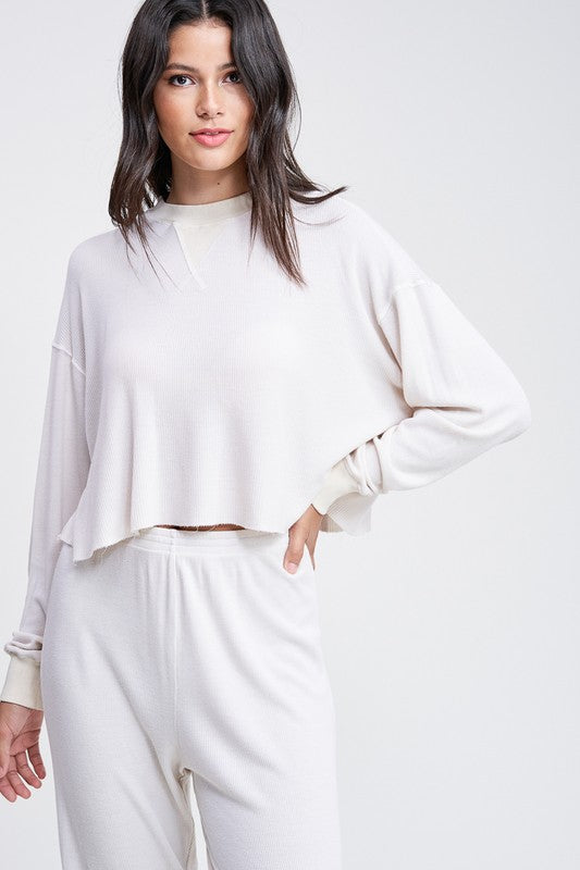 Emory Park - Raw Edge LS Crop Top Ivory