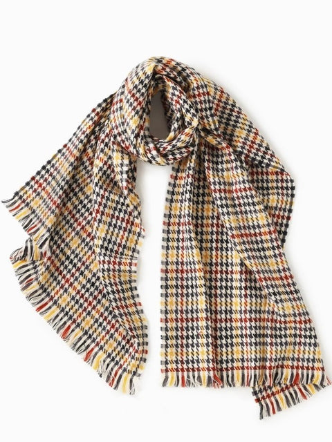 Look By M -  Multi Plaid Houndstooth Scarf