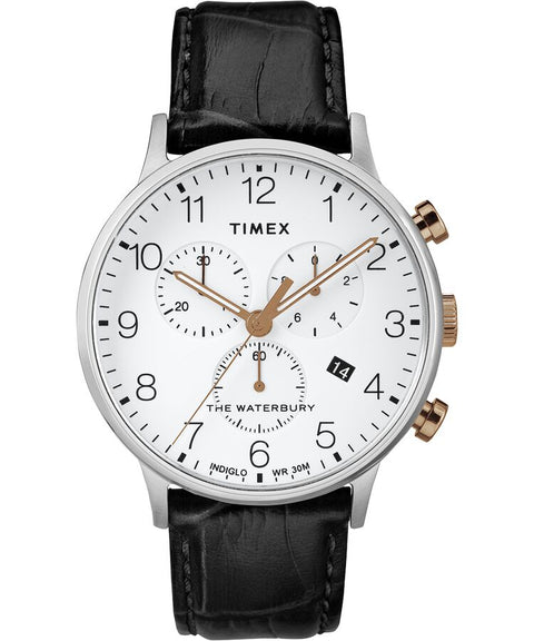 Timex - Waterbury Classic Chronograph 40mm Leather Strap Watch