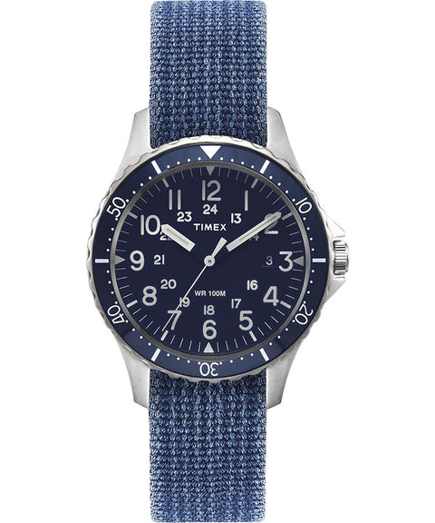 Timex - Navi Ocean 38mm Reversible Stonewashed Fabric Strap Watch