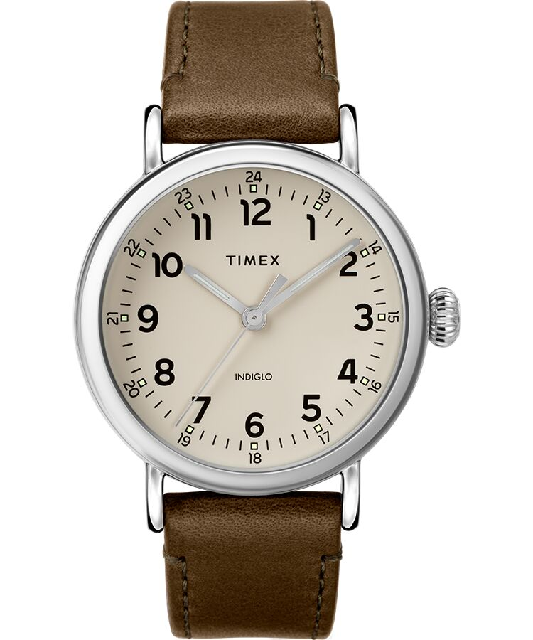 Timex - Standard 40mm Leather Strap Watch