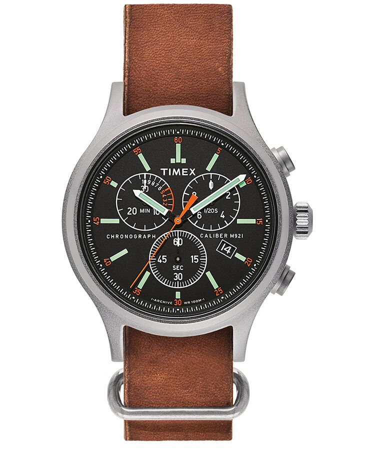 Timex - Allied Chronograph 42mm Leather Strap Watch