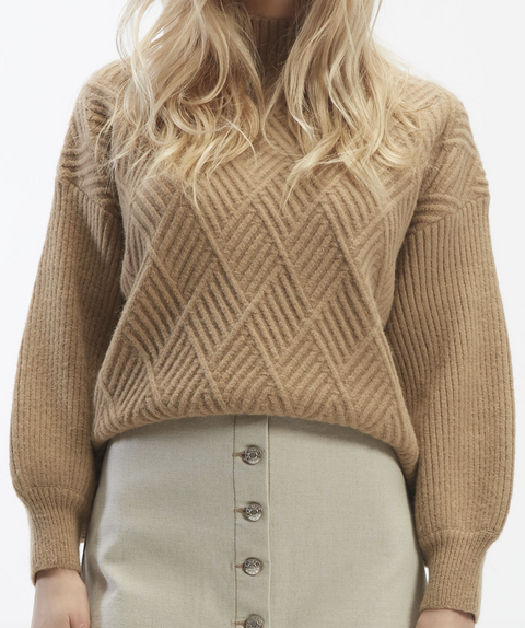 Oat - Mock Neck Fence Sweater