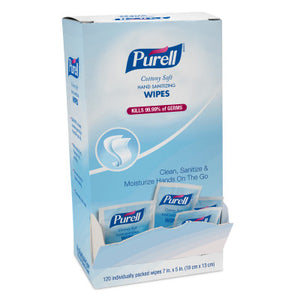PURELL® Cottony Soft Hand Sanitizing Wipes 120 Individually-Packed Wipes in Self-Dispensing Display Box