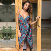 Load image into Gallery viewer, Bohemian Sexy Irregular Sling Halter Tassel Printed Velvet Female Dress Floral